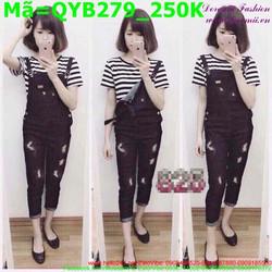 Quần yếm jean nữ màu đen rách xước nhẹ QYB279