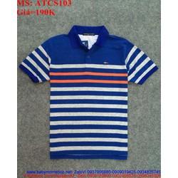 Áo thun nam cổ bẻ ngắn tay sọc màu trẻ trung phong cách ATCS103
