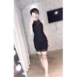 Đầm body cổ yếm ren kết cườm - A30199