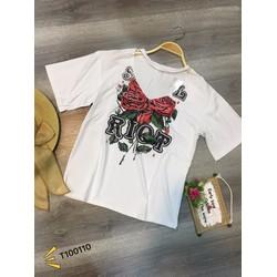 áo thun dây chuyền hoa hồng-Hàng Qc