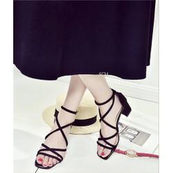 Giày gót vuông quai chéo mãnh | giày sandal nữ cao gót