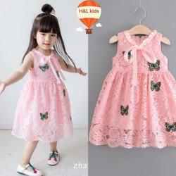 Đầm ren bướm IN NỔI xinh cho bé diện mùa hè