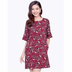 Đầm suông hoa tay loe thời trang