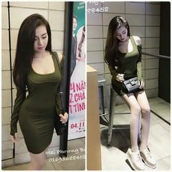 Đầm body tay dài khoét vai