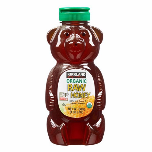 Mật ong Kirkland Signature Raw Organic Honey Bear, 680g
