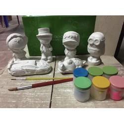 bộ tô tượng 6 tượng 6 màu 2 bút lông BÁT TRÀNG