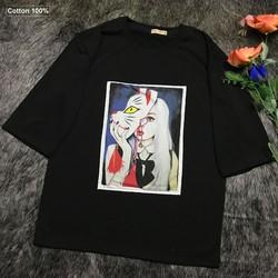Áo thun nữ đen form rộng tay lỡ hình cô gái mặt nạ cọp siêu hot