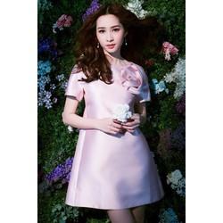 Đầm dự tiệc hồng đính hoa cao cấp