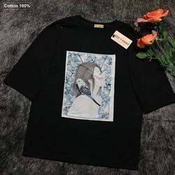 Áo thun nữ form rộng tay lỡ đen hình cô gái và con chim hoang dã