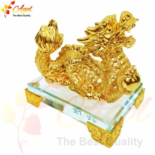 tượng rồng vàng đế thủy tinh