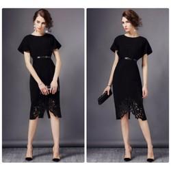 Đầm body cổ tròn xòe ren chân váy cao cấp