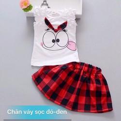 Bộ áo thun váy kaki sọc caro cho bé gái