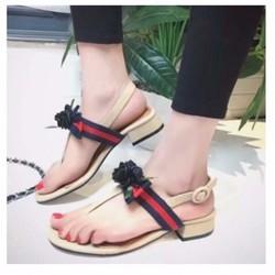 giày sandal quai T hoa hồng 2124
