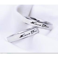 Nhẫn inox cặp đôi inox love you màu trắng - trang sức inox