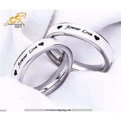 Nhẫn cặp đôi inox sơn trắng forever love cao cấp- Trang sức inox