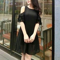 Đầm suông dập ly tay bèo khoét vai kèm dây cột eo
