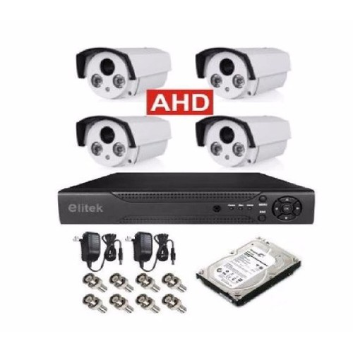 BỘ 4 CAMERA AHD  ELITEK ECA-50913-ĐẦU GHI ELITEK+Ổ CỨNG 160GB