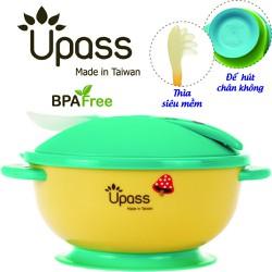 Bát ăn dặm không BPA có đế hút chân không kèm nắp và thìa Upass