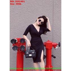 Đầm body công sở xẻ cổ V và đùi sành điệu thời trang DOC401