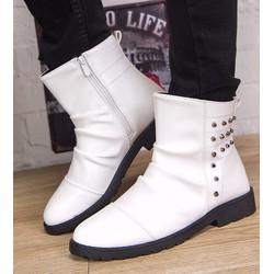 giày boot dây kéo nạm đinh Mã: GH0407 - TRẮNG