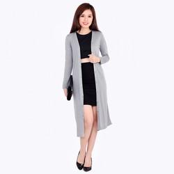 Áo khoác cotton lụa form dài - Xám