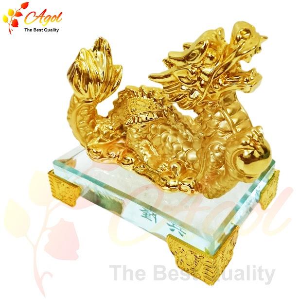 tượng rồng vàng đế thủy tinh 2