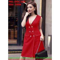 Đầm ôm công sở sát nách đính nút sành điệu phong cách DOC389