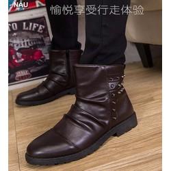 Giày boot dây kéo nạm đinh Mã: GH0407 - NÂU
