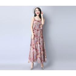 Đầm maxi 2 dây họa tiết thời trang nữ cao cấp 2017 - #0879