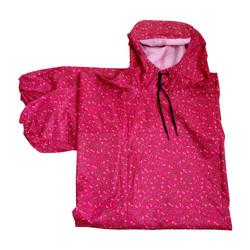 Áo mưa kiểu bít 2 bên vải dù 2 da -vải in bông nhỏ nền đỏ