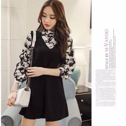 Đầm nữ phối sơ mi phong cách Hàn Quốc 2017