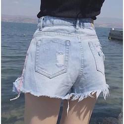 Quần short jean rách phối line hồng