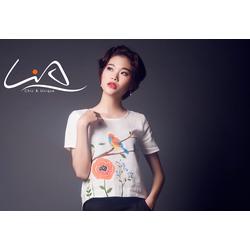Áo  trắng vẽ tay hoạ tiết chim và hoa cam size S