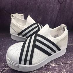 giày lười nam nữ băng chéo đen trắng NEW 2017