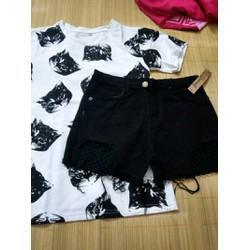 set quần short lưới đen và áo mèo