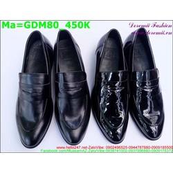 Giày mọi nam màu đen với hai loại da bóng và da không bóng GDM80