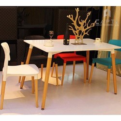 Ghế bàn ăn thân nhựa chân gỗ Sồi cao cấp FILLY nhập khẩu HCM