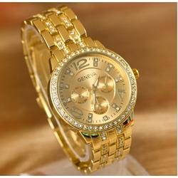 Đồng hồ nữ màu vàng đính full hạt mặt và dây Geneva G9