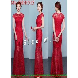 Đầm maxi dự tiệc màu đỏ sang trọng thiết kế vải ren thời trang DDH515