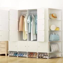 Tủ quần áo nhựa lắp ráp 12 ngăn vân gỗ có kệ bên hông
