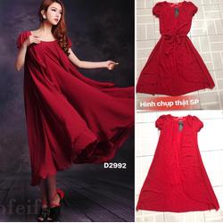Đầm bầu maxi voan suông xòe cột eo váy dài ,ngắn tay nữ tính-D2992