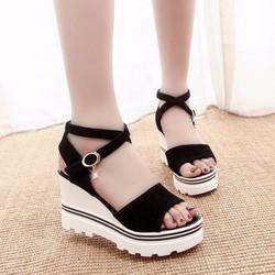 Giày sandal đế xuồng nữ quai chéo hàng nhập - LN1225