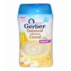 Bột ăn dặm Gerber Yến mạch, chuối 227g dành cho bé 6