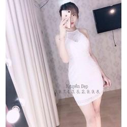 Đầm body cổ yếm ren kết cườm - A30200