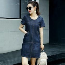 Đầm Jean Suông Cổ Tròn Phối Túi Sành Điệu TP1231
