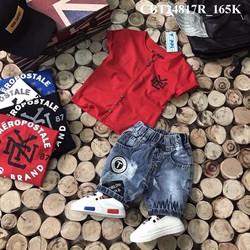 Bộ quần jean áo thun cổ V cho bé từ 1-8 Tuổi_CBT24817