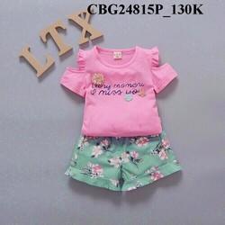 Bộ áo thun trễ vai phố quần hoa dễ thương cho bé từ 1-8 Tuổi_CBG24815