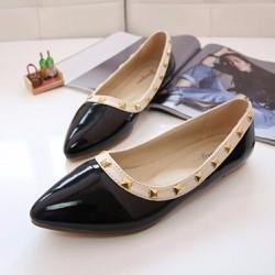 Giày búp bê mũi nhọn viền đinh tán cá tính - 144
