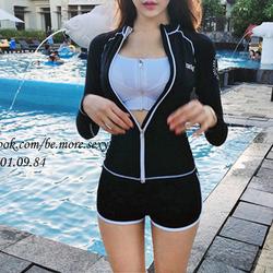 Đồ bơi bikini nữ dài tay áo khoác trắng đen