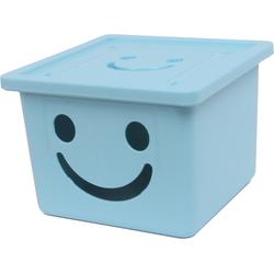 Thùng nhựa đựng đồ cao cấp size nhỏ Happy Box Xanh da trời nhạt